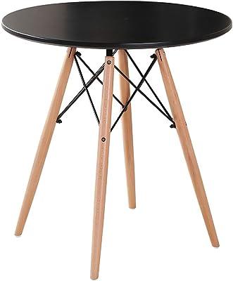 Tavolino Tondo in MDF e Faggio 4 Gambe con Antiscivolo H 75 cm 60 cm CLP Tavolo Tondo da Pranzo Viktor Design Scandinavo Moderno