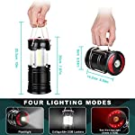 Ezorkas 2 pack camping lanterns, rechargeable led lanterns, hurricane lights with flashlight and magnet base for camping… 12 super bright & large area brightness. The latest cob bulbs offer ultra-bright lights. 360 degree coverage lighting provide high visibility to meet large area brightness. 4 lighting modes. Collapsible cob led lantern. Flashlight. Red warning light(strobe & sos light). Ezorkas led camping lantern is a vital filed survival tool and camping accessories. Rechargeable & long-lasting. It is a rechargeable camping lantern and also powered by battery. There is a built-in 18650 battery , so you can recharge the lantern via usb charging cable. You can also place 3*aa batteries (not included) to use it. By using these two ways of battery supplying, never let you be left in a sudden darkness. Durable & water-resistant. Compact lamp body prevents it being damaged from collision. The rechargeable lantern is water-resistant due to its abs military material and cob bulb. The camping lamp can adapt to all kinds of severe hurricane and rainstorm weather. Perfect camping light for your indoor or outdoor activities.