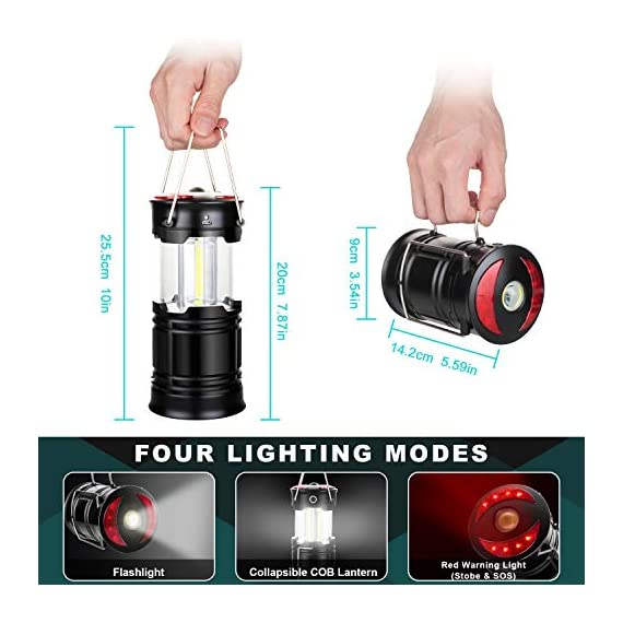 Ezorkas 2 pack camping lanterns, rechargeable led lanterns, hurricane lights with flashlight and magnet base for camping… 6 super bright & large area brightness. The latest cob bulbs offer ultra-bright lights. 360 degree coverage lighting provide high visibility to meet large area brightness. 4 lighting modes. Collapsible cob led lantern. Flashlight. Red warning light(strobe & sos light). Ezorkas led camping lantern is a vital filed survival tool and camping accessories. Rechargeable & long-lasting. It is a rechargeable camping lantern and also powered by battery. There is a built-in 18650 battery , so you can recharge the lantern via usb charging cable. You can also place 3*aa batteries (not included) to use it. By using these two ways of battery supplying, never let you be left in a sudden darkness. Durable & water-resistant. Compact lamp body prevents it being damaged from collision. The rechargeable lantern is water-resistant due to its abs military material and cob bulb. The camping lamp can adapt to all kinds of severe hurricane and rainstorm weather. Perfect camping light for your indoor or outdoor activities.