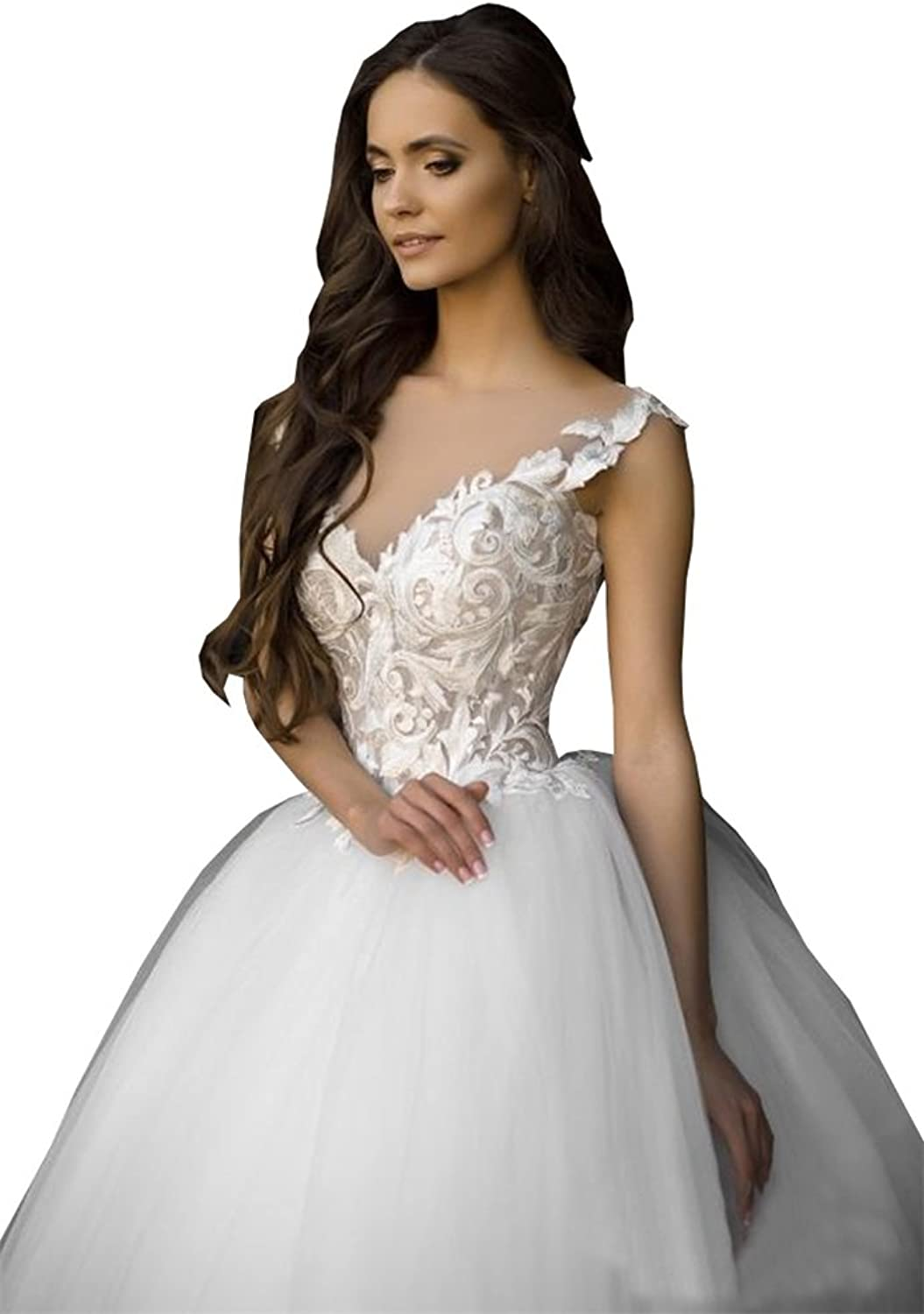 Ellystar Women's Ball Gown Tulle Backless V Neck Ssleeveless Wedding Dresses