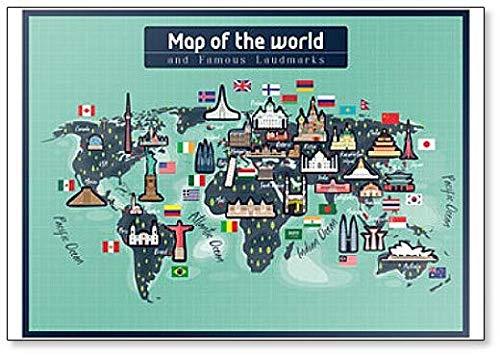 Imán para nevera con diseño de mapa del mundo