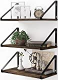 BAMEOS Floating Shelves Rustic Wood Wall Shelf Set of 3, Small Bookshelf for Living Room, Office, and Bedroom, with Metal Bracket