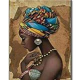 Bordado de diamantes Mujer Africana Belleza Diy 5D Pintura Diamante 3D Kits de punto de Cruz Costura Rhinestones Completos Decoración Del Hogar,40x50cm