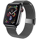 jwacct Bands Compatible for Apple Watch 38mm 40mm, Adjustable Magnetic Stainless Steel Bracelet Mesh Strap Sport Loop for Women/Men iWatch Series 6/5/4/3/2/1 and SE, Space Gray