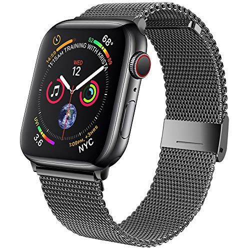 jwacct Bands Compatible for Apple Watch 42mm 44mm, Adjustable Magnetic Stainless Steel Bracelet Mesh Strap Sport Loop for Women/Men iWatch Series 6/5/4/3/2/1 and SE, Space Gray