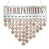[with Adhesive Hooks] Family Friends Calendar Wood Wall Hanging Plaque Family Friends Birthday Gifts DIY Reminder Wall Calendar Board