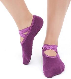 Non-Slip Cross Back Yoga Socks, Cotton Ballet Dance Socks,Black Round-Head Yoga Socks,Fully Breathable