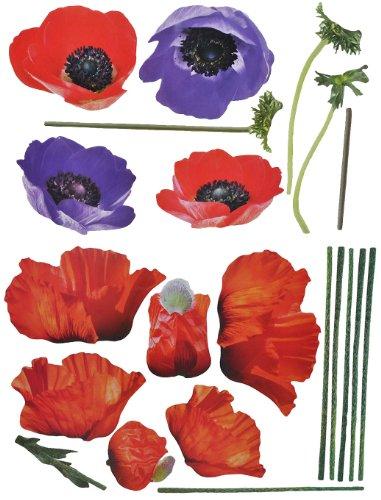 alles-meine.de GmbH XXL Wandtattoo / Sticker - Anemonen + Mohnblumen mit Stengel - Mohn Blüten - selbstklebend für Kinderzimmer und Deko Wandsticker Aufkleber Blumen