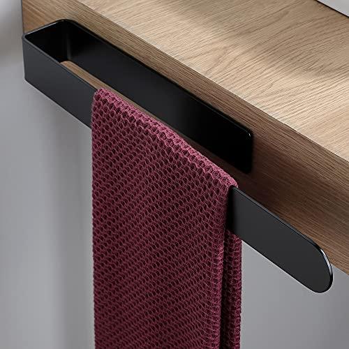 YIGII Handtuchhalter Schwarz - Handtuchstange Ohne Bohren für Bad oder Küche Edelstahl Handtuchring
