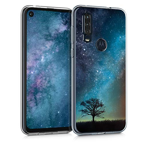 kwmobile Hülle kompatibel mit Motorola One Action - Handyhülle - Handy Hülle Galaxie Baum Wiese Blau Grau Schwarz
