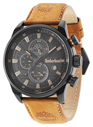 Timberland Montres à quartz avec affichage analogique à cadran noir et bracelet en cuir ,bracelet -Beige (brun clair)_ Homme -- 14816JLB/02