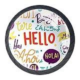 Juego de 4 pomos redondos para puerta de armario de cocina, con diseño de Hello Words en diferentes idiomas, perillas y asas para cajones, aparadores, armarios, 35 mm