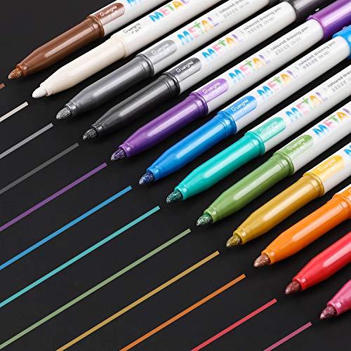 Sunshilor Metallic Markers Medium Point Metallic Marker Pens for Black Paper, Art Rock Painting, Easter Egg, Halloween Pumpkin, Card Making, Marking, Signature, Graffiti, Craft, Set of 12