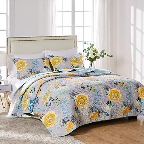 Greenland Home Watercolor Dream 100% Cotton Quilt Set, Gray, 2-Piece Twin