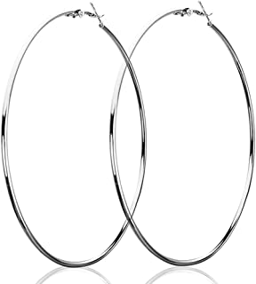 1591545ff DOT9TI9 Women's Alloy Silver Color All Sizes Fashion Smooth Big Large Round Hoop  Earrings