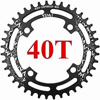 Propenary - 自転車104BCDクランクオーバルラウンド30T 32T 34T 36T 38T 40T 42T 44T 46T 48T 50T 52TチェーンホイールXT狭い広い自転車チェーンリング[ラウンド40Tブラック]