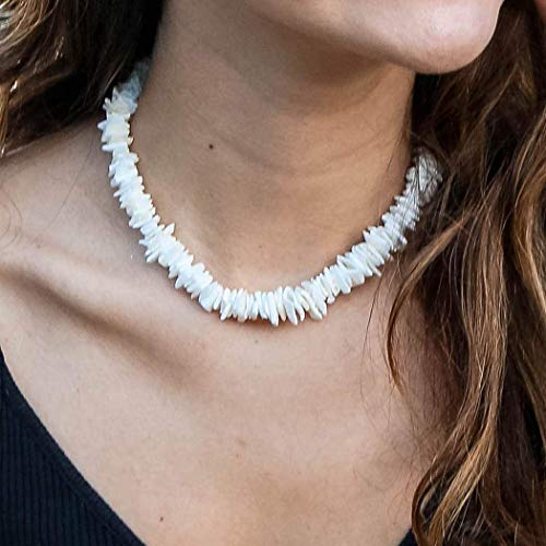 Latious Boho Cowrie Shell Choker Necklace Beach Puka Seashell Necklaces Adjustabale Weave Jewelry for Women and Girls (White)