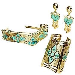 Nessun look è completa senza gioielli Il set di accessori della principessa jasmine comprende uno splendido bracciale, una tiara e un paio di orecchini scintillanti