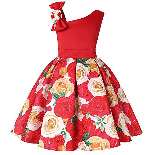 Btruely Prinzessin Kleid Mädchen Brautjungfern Kleid Blumen Abendkleid Hochzeit Cocktailkleid Partykleid Tüll Festzug Kinder Festzug Kleid Spitze Kleid (160, Rosa)