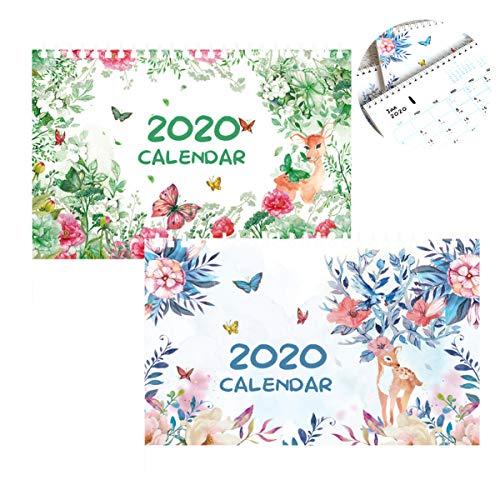 Liuer 2PCS September 2019 - Dicembre 2020 Mensile Scrivania Pad Calendari Da Tavolo,Calendario Murale Pianificatore Giornaliero Desktop Calendario Mensile Pianificatori Per Ufficio Scuola Famiglia