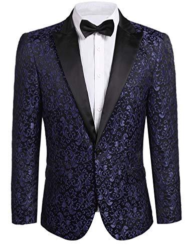 JINIDU Men's Floral Party Dress Suit Stylish Dinner Jacket Wedding Blazer Prom Tuxedo, Navy Blue, S