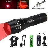 Vastfire - Luz LED de color rojo para rifle de caza, con zoom de 320metros, con interruptor de presión remoto y esctructura Picatinny