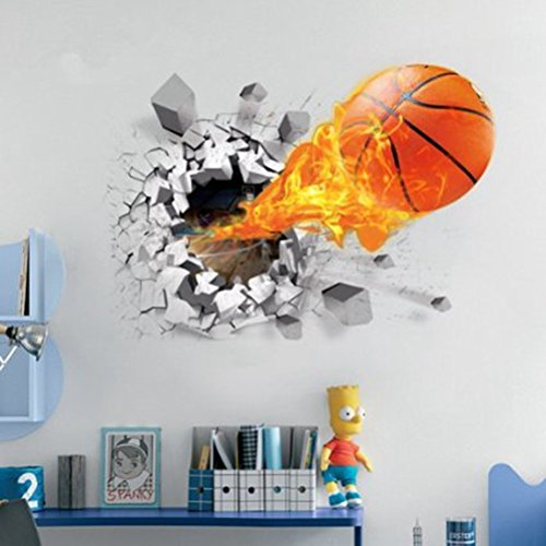 U-Shark 3D Self-Adhesive Removable Break Through The Wall Vinyl Wall Stickers/Murals Art Decals Decorator (Flying Fire Basketball (19.7' X 27.6'))