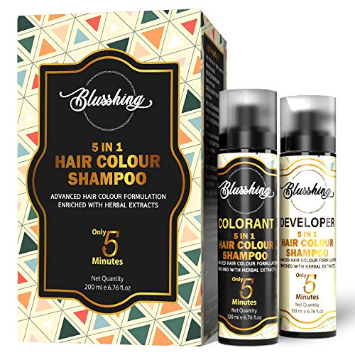 BLUSSHING Instant Hair Colour Shampoo For Men & Women 200ml(Natural Black). 5 In 1 Color Shampoo For Hair,Beard, Mustache In 5mns Free From Ammonia With Benefits Of Argan, Almond Oil & Noni.