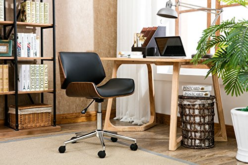 Porthos Home Dove Office Chairs in Mid-Century Modern Design with Leather Upholstery, Wooden Accents, Stainless Steel Legs, Roller Wheels & Adjustable Height, Black