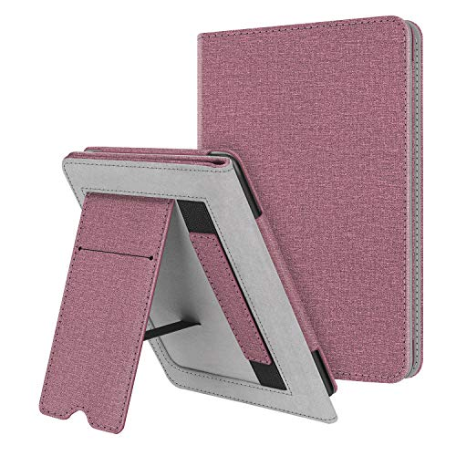 Fintie Stand Case for Kindle Paperwhite (Fits All-New 10th Generation 2018 / All Paperwhite Generations) - Premium PU Leather Protective Sleeve Cover with Card Slot and Hand Strap, Plum