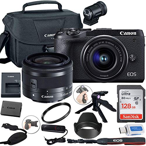 Canon EOS M6 Mark II Mirrorless Digital Camera (Black) with 15-45mm Lens and EVF-DC2 Viewfinder + Canon Shoulder Bag +...