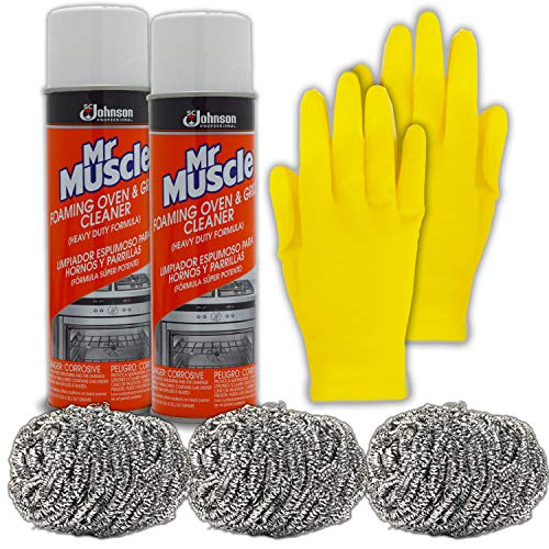 Mr Muscle Oven and Grill Cleaner Spray Kit: (2 PK) Mister Muscle Commercial Heavy Duty Professional Formula (20 Oz), 3 Stainless Steel Wool Scrubber Pads, Medium Long Reusable Rubber Gloves Cleaning