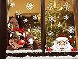 Tuopuda Pegatinas de Navidad Ventana,Copo de Nieve Pegatinas Decoracion Ventanas Escaparate Pegatina Electrostática Extraíble Alce de Santa Claus Pegatinas