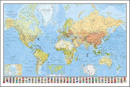 Close Up Weltkarte Die Welt Poster - deutsch - aktueller Stand, mit Flaggen, 91,5 x 61 cm