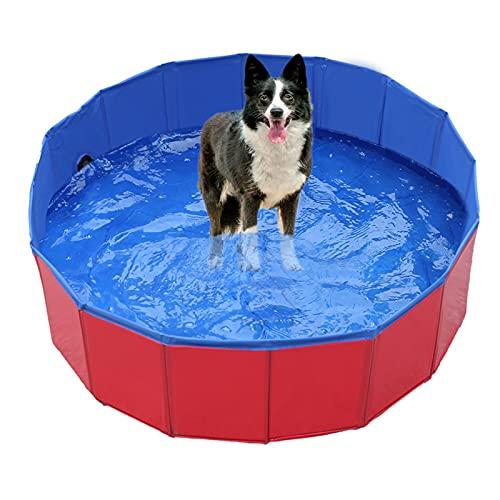 Faltbar Hundepool, Hund Schwimmbad Kinder Umweltfreundliche PVC rutschfest Planschbecken mit Ablassventil Sommer Schwimmbad Schwimmbecken Für Kinder und Hund Katze (50*8cm(19.68*3.15\'\' ))