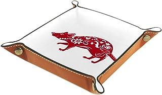 BestIdeas Panier de rangement carré 20,5 x 20,5 cm avec souris chinoise découpée en papier 8 - Boîte de rangement sur tabl...
