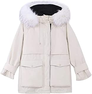 Hooded Long-Sleeved Cotton Coat Female Loose Down Pike Coat Thickened mid-Length Winter Women's Clothing (Color : Beige, Size : XL)