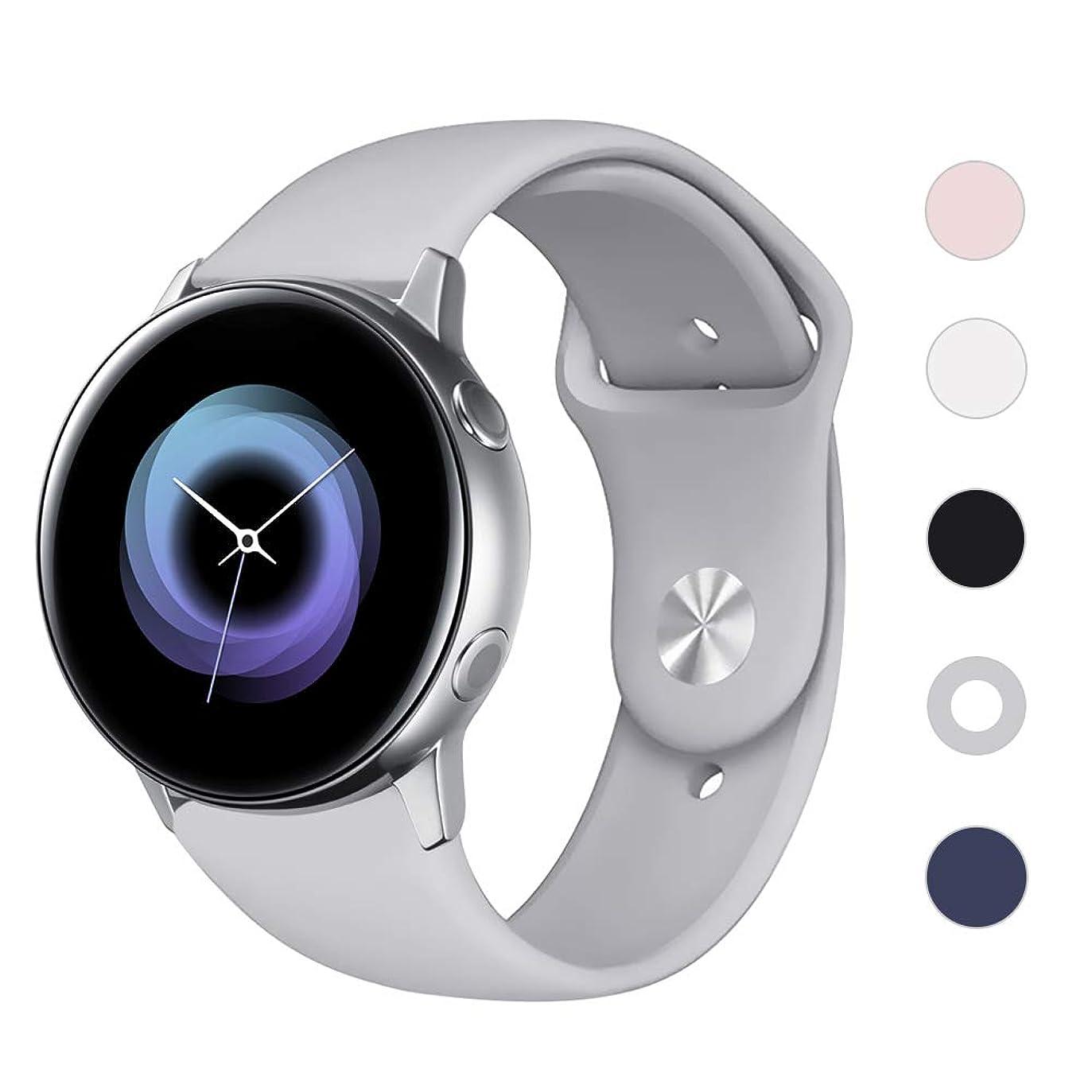 繊細突破口アセンブリLittleForest For GARMIN ForeAthlete 245 /ForeAthlete 245 Music/GARMIN vivoactive 3 /Ticwatch 2/Ticwatch E/Ticwatch C2/Sumsung Galaxy Watch Active(40mm)等 20mm ソフトシリコン製 交換用バンド クイックリリース ベルト 耐水性能 多色選択 調整自由 2サイズ(Large グレー)