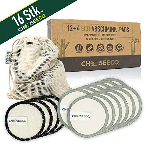 ChooseEco MakeUp Lot de 16 tampons exfoliants et démaquillants – Réutilisables & Lavables + 1 sac à linge – Zéro Waste – Coton de bambou