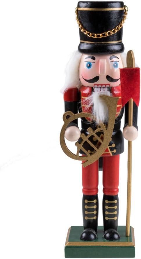 Combinable con Cualquier Estilo Soldado con Uniforme Militar Cascanueces Tradicional de Navidad Coleccionable 100/% Madera Clever Creations 25,4 cm trompa y Pica