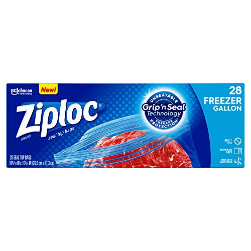 Ziploc Freezer Bags, Easy Open Tabs, Gallon, 28 Count
