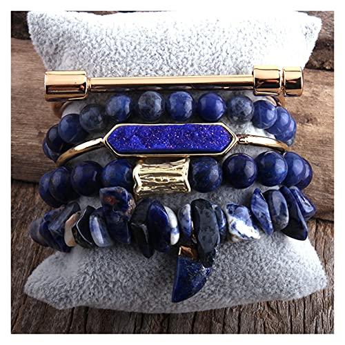 Joyas Natural Stone Bangle 5pc Pulseras Conjuntos para Mujeres Joyería Bohemia Regalo (Length : 18.5cm, Metal Color : Blue)