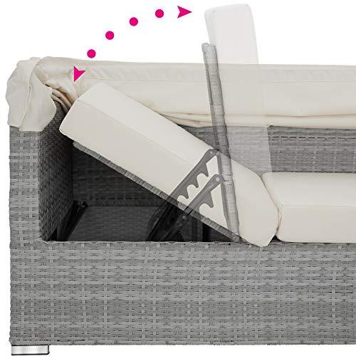TecTake 800771 Aluminium Poly Rattan Lounge Set, 16-teilig, wetterfest, Garten Sofa mit Sonnendach, Outdoor Sitzgruppe inkl. Kissen und Beistelltisch – Diverse Farben – (Hellgrau | Nr. 403712) - 6