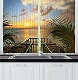 Cortinas de cocina para decoración de casa de campo, mar mediterráneo, mar desde terraza de madera, vallas de balcón, foto de vida de vacaciones, cortina de 2 paneles para dormitorio, sala de estar, v