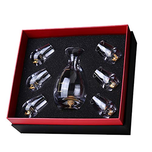 QAHJB Liquor Spirits Wine Glass Set of 6, And A Decanter (Size : A)