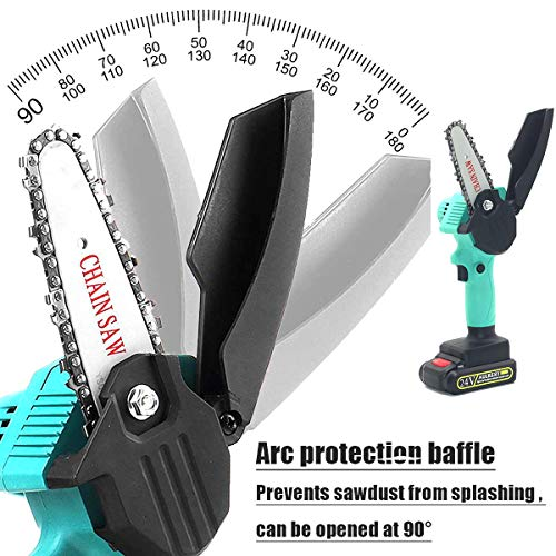 Mini Chainsaw,4-Inch Handheld Chainsaw with 2Pcs Batteries and 4Pcs Chain,Pruning Shears Mini Chainsaw Cordless for Courtyard Tree Branch Wood Cutting