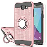 Galaxy J7 Perx/Galaxy J7 Prime/J7 V/J7 Sky Pro/Halo Case with HD Phone Screen Protector,YmhxcY 360 Degree Rotating Ring & Bracket Dual Layer Resistant Back Cover for Samsung J7V 2017-ZH Rose Gold
