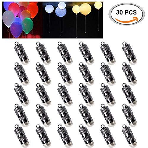 AIMONLIE LED Ballons Lichter, 30pcs LED Luftballons Lichter für Ballon, Papierlaternen, Blumen, Hochzeit, Party, Mini LED Ballon Lichter Batteriebetrieben, Wasserfeste