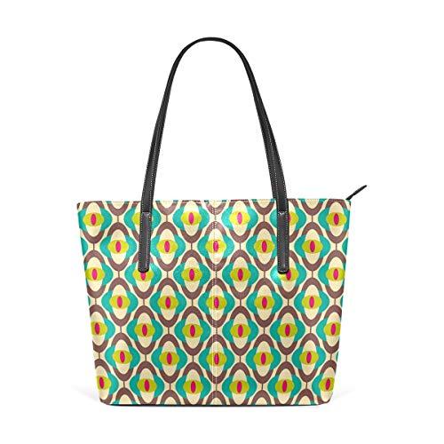 NR Multicolour Fashion Damen Handtaschen Schulterbeutel Umhängetaschen Damentaschen,Vintager starker Bauhaus-Kunst-Fliesen-Druck