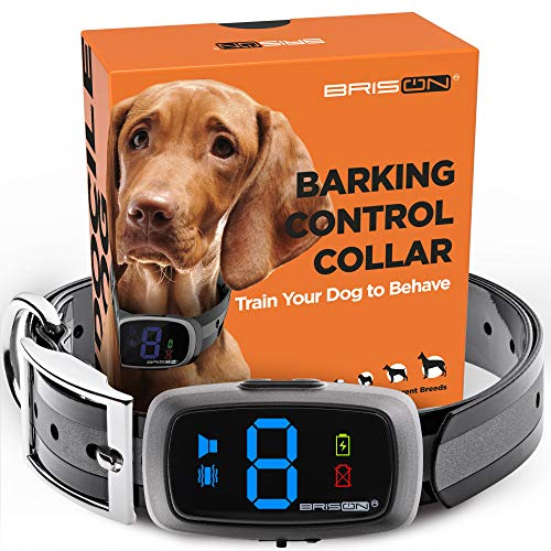 BRISON Dog Bark Collar - 3 Modes Beep Vibration - Rechargeable Waterproof Anti Bark Collar for Small Medium and Large Dogs (Grey)